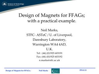 Design of Magnets for FFAGs; with a practical example.