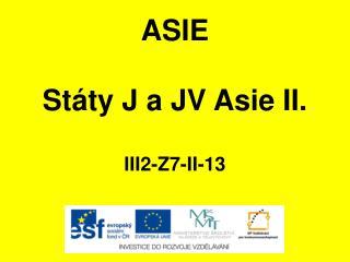 ASIE Státy J a JV Asie II. III2-Z7-II-13