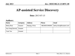 AP - assisted Service Discovery