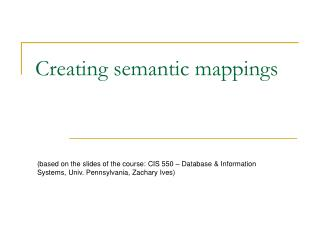 Creating semantic mappings