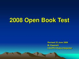 2008 Open Book Test