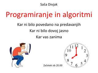 Programiranje  in  algoritmi