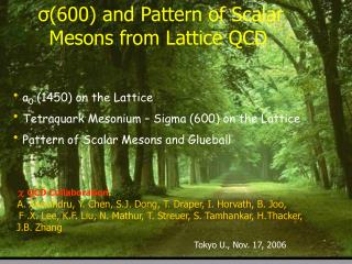 ? (600) and Pattern of Scalar Mesons from Lattice QCD