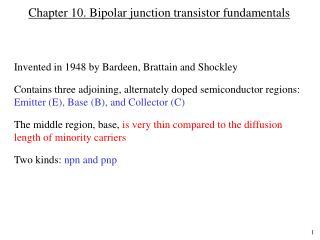 Chapter 10. Bipolar junction transistor fundamentals