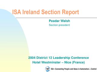 ISA Ireland  Section Report