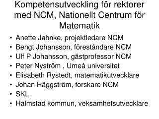 Kompetensutveckling för rektorer med NCM, Nationellt Centrum för Matematik