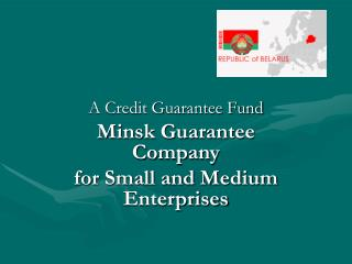 A Credit Guarantee Fund Minsk Guarantee Company  for Small and Medium Enterprises