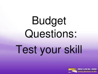 Budget  Questions:  Test your skill