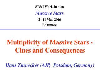 STScI Workshop on Massive Stars 8 - 11 May 2006 Baltimore