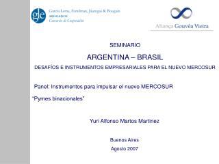 SEMINARIO  ARGENTINA – BRASIL DESAFÍOS E INSTRUMENTOS EMPRESARIALES PARA EL NUEVO MERCOSUR