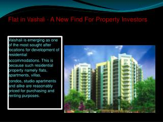 Flat in Vaishali - A New Find For Property Investors