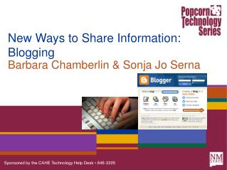 New Ways to Share Information: Blogging