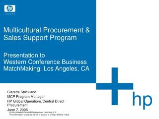 Multicultural Procurement   Sales Support Program   Presentation to Western Conference Business MatchMaking, Los Angeles