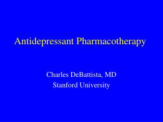 Antidepressant Pharmacotherapy