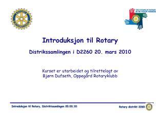 """""""Introduksjon til Rotary"""" – Mål"""