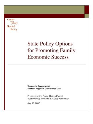 State Policy Options for Promoting Family Economic Success