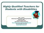 Highly Qualified Teachers for Students with Disabilities