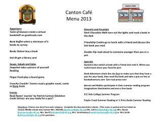 Canton Café Menu 2013