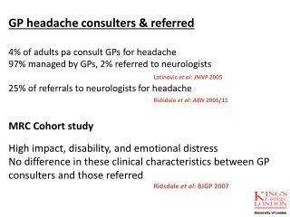MRC Cohort study  High impact, disability, and emotional distress