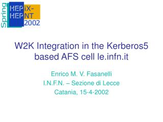 W2K Integration in the Kerberos5 based AFS cell lefn.it