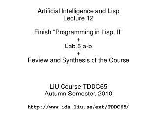 "Finish ""Programming in Lisp, II"""