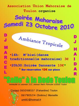 Soirée Mahoraise Samedi 23 Octobre 2010