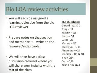 Bio LOA review activities