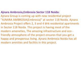 Ajnara Embrosia ! 9899606065 ! Ajnara Ambrosia Noida