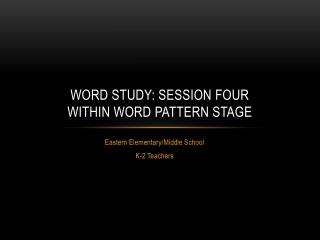 Word study: Session four Within word pattern stage