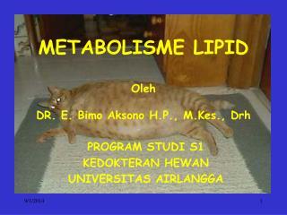 METABOLISME LIPID Oleh DR. E. Bimo Aksono H.P., M.Kes., Drh
