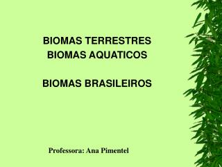 BIOMAS TERRESTRES BIOMAS AQUATICOS BIOMAS BRASILEIROS