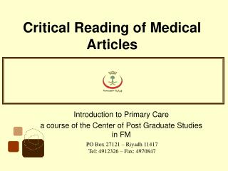 Critical Reading of Medical Articles