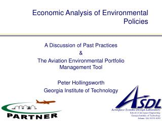 Economic Analysis of Environmental Policies
