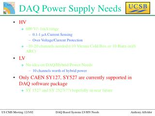 DAQ Power Supply Needs