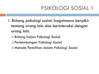 PSIKOLOGI SOSIAL 1