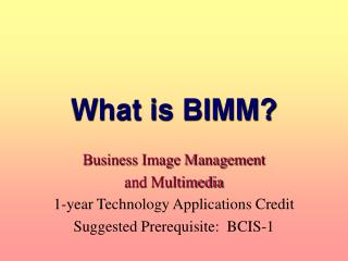 What is BIMM?
