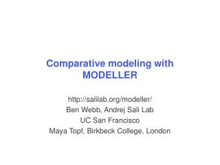 Comparative modeling with MODELLER