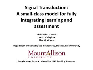 Signal  Transduction: A small-class model for fully integrating learning and assessment