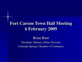 Fort Carson Town Hall Meeting 6 February 2009