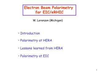Electron Beam Polarimetry  for EIC/eRHIC
