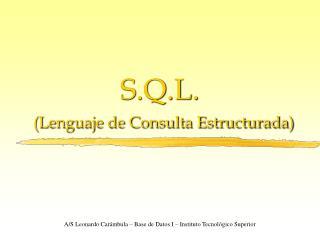 S.Q.L. (Lenguaje de Consulta Estructurada)