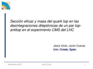 Jesús  Vizán, Javier Cuevas Univ. Oviedo, Spain .