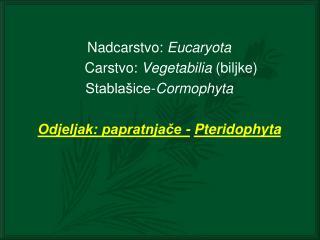 Nadcarstvo:  Eucaryota       Carstvo:  Vegetabilia  (biljke) Stablašice- Cormophyta