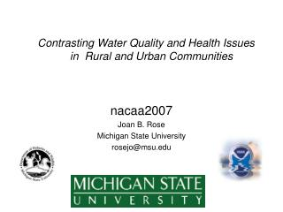 Contrasting Water Quality and Health Issues in  Rural and Urban Communities