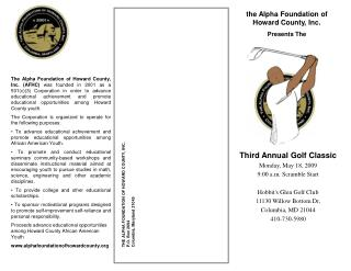 the Alpha Foundation of Howard County, Inc. Presents The