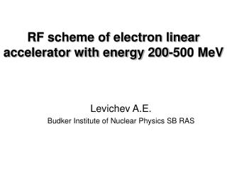 RF scheme of electron linear accelerator with energy 200-500 MeV
