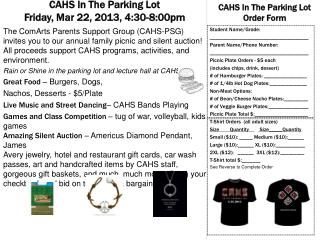 CAHS In The Parking Lot  Friday, Mar 22, 2013, 4:30-8:00pm