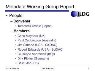 Metadata Working Group Report