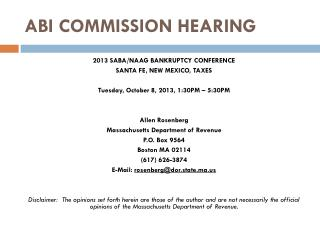 ABI COMMISSION HEARING