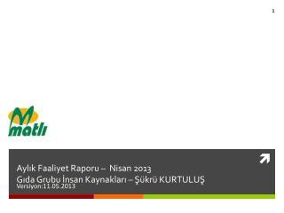 Aylık Faaliyet Raporu  – Nisan  2013 Gıda Grubu İnsan Kaynakları – Şükrü KURTULUŞ